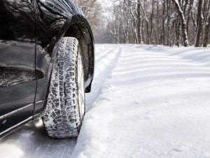 Driving car in winter with much snow