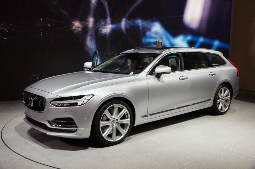 GENEVA, SWITZERLAND - MARCH 2, 2016: New 2017 Volvo V90 presented at the 86th International Geneva  Motor Show in Palexpo, Geneva.