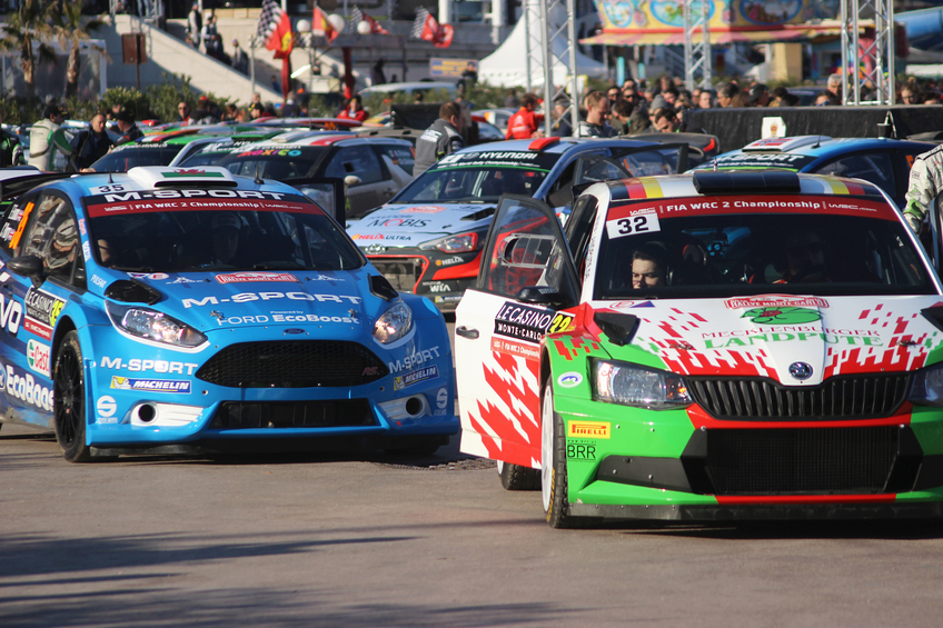 Monte-Carlo, Monaco - January 24, 2016: Rally Cars were parked on the port Hercule of Monaco WRC Monte Carlo Rally 2016, south of France
